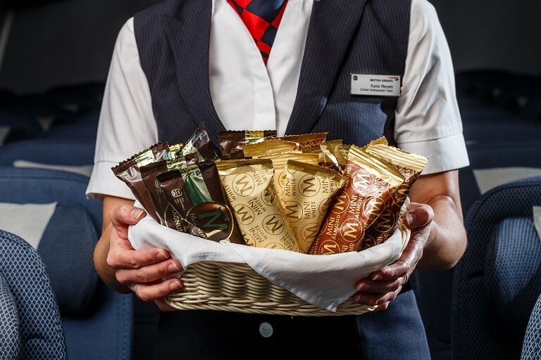 British Airways new World Traveller catering - new Magnum selection served on outbound daylight flights from London